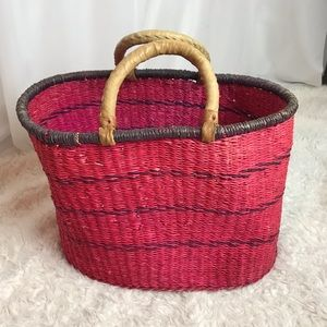 Vintage African Woven Market Basket Tote